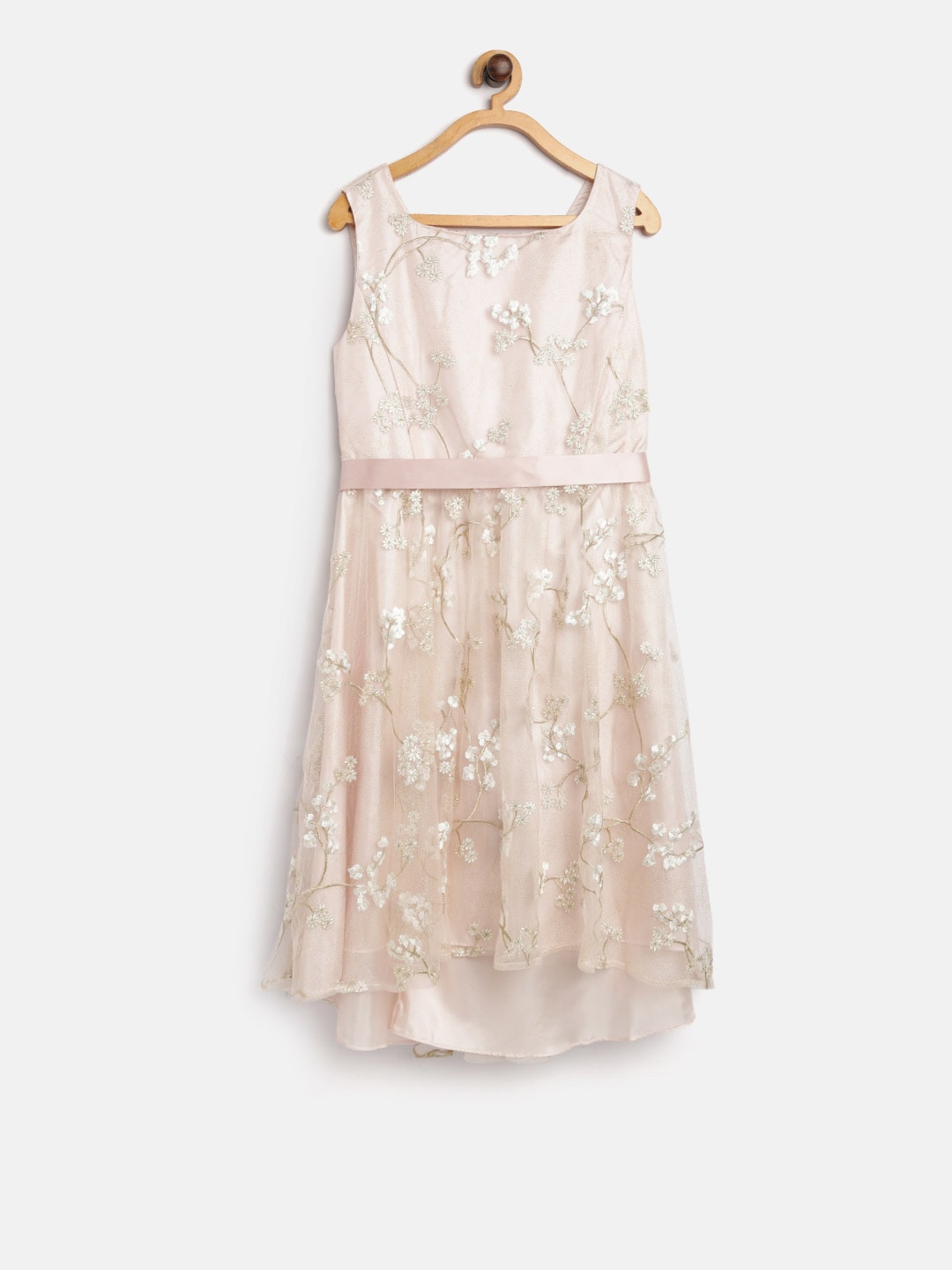 MONSOON CHILDREN Girls Peach-Coloured Embroidered Shimmer Fit and Flare  Dress