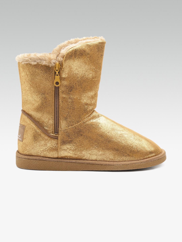9896ec0e534 Carlton London Women Gold-Toned Solid High-Top Ugg Boots