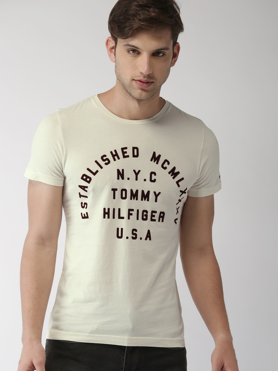 853d9ed63 Tommy Hilfiger Men White Printed Round Neck Tshirt - Buy Tommy Hilfiger Men White  Printed Round Neck Tshirt online in India