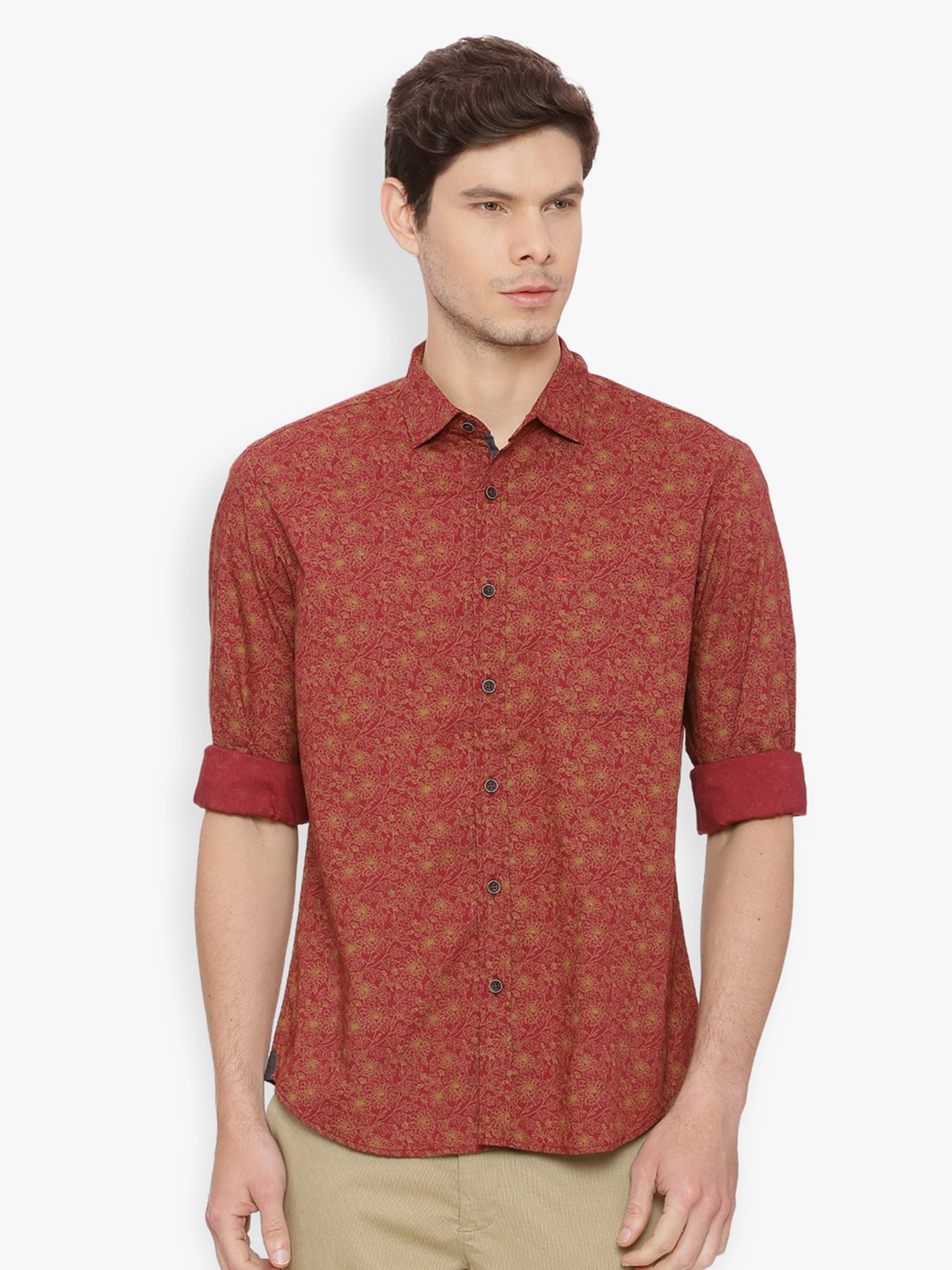2137e0b50d Basics Men Maroon Slim Fit Printed Casual Shirt