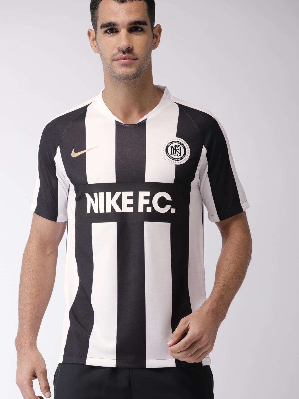 watch 32b2c 9f60e Nike Men White & Black Striped Standard Fit AS M NK FC Home Jersey