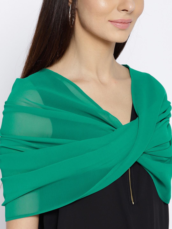 MABISH by Sonal Jain Green Solid Sheer Snood Shrug