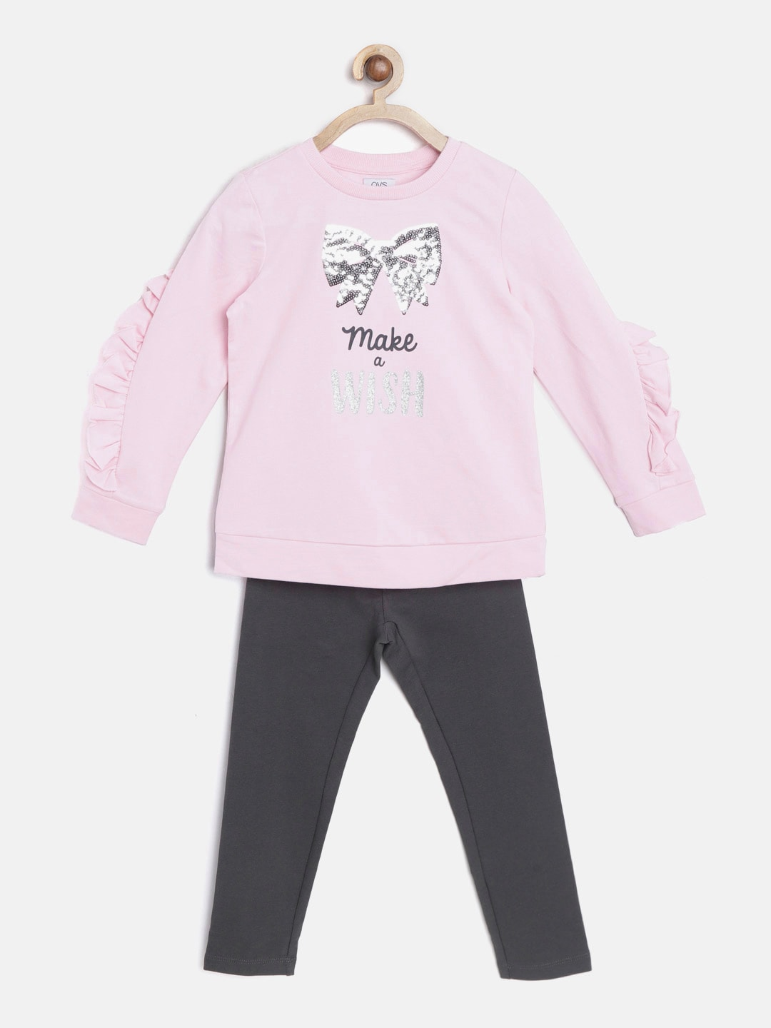 9f8d57c0490d OVS Girls Pink   Charcoal Grey Printed Tracksuit