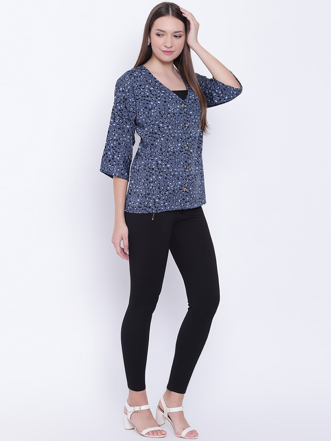 11b976cedf The Gud Look Women Blue Regular Fit Printed Casual Shirt