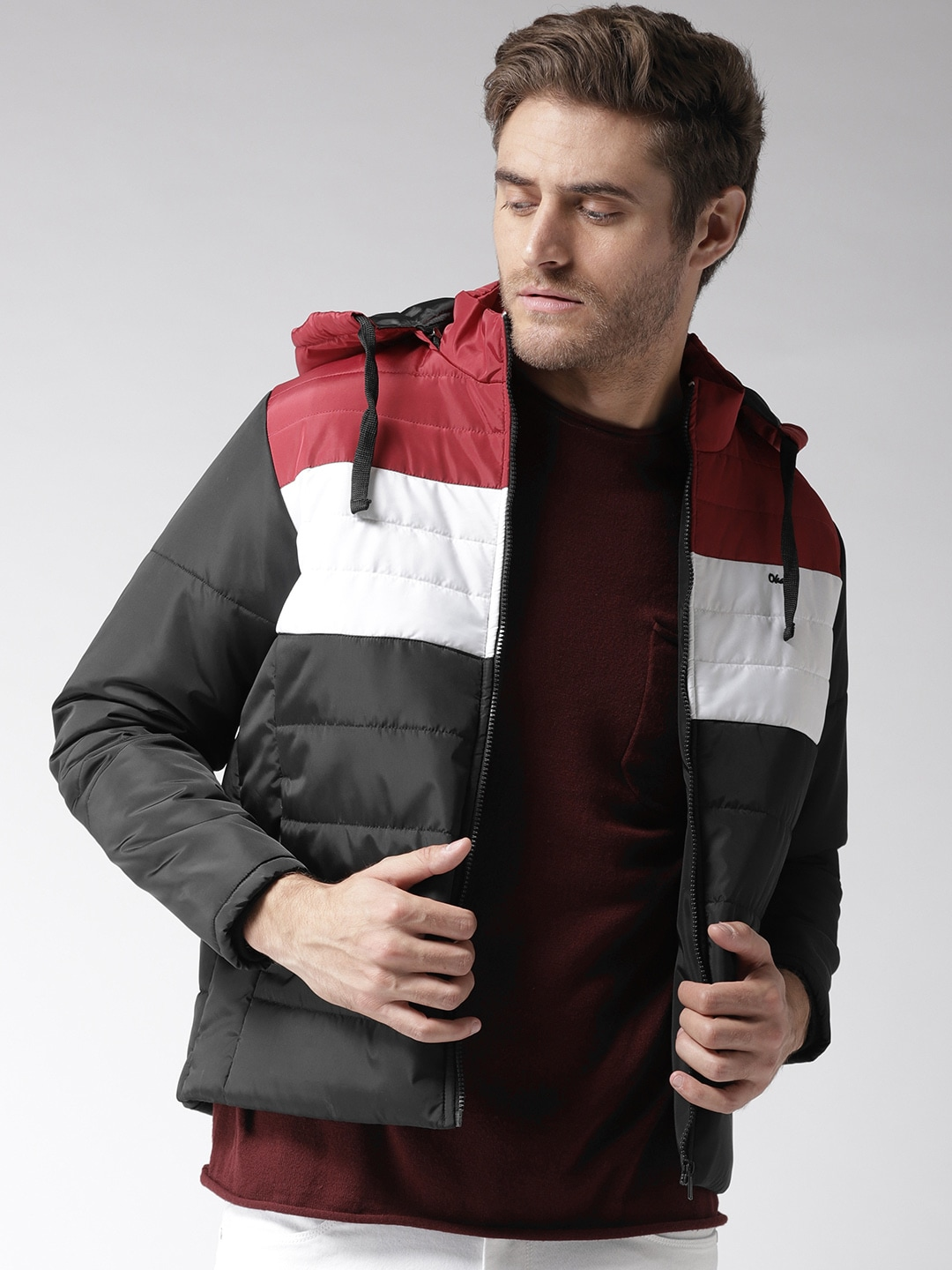 b4424fd95 Okane Men Black Colourblocked Padded Jacket with Detachable Hood
