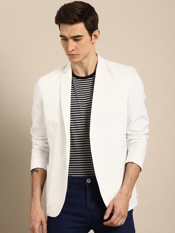 3f572e366ff0b ether Men White Regular Fit Single-Breasted Blazer