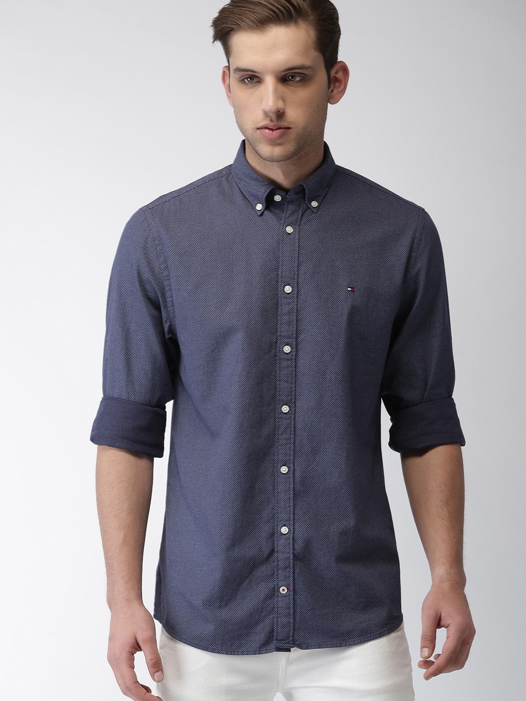 Tommy Hilfiger Men Navy Blue Regular Fit Printed Casual Shirt