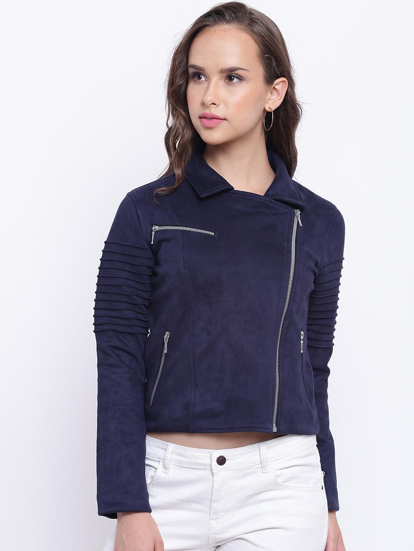 d5087d619 Texco Women Navy Blue Suede Insulator Biker Jacket