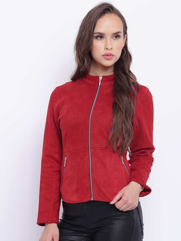 f299f8bae Texco Women Maroon Suede Insulator Open Front Jacket