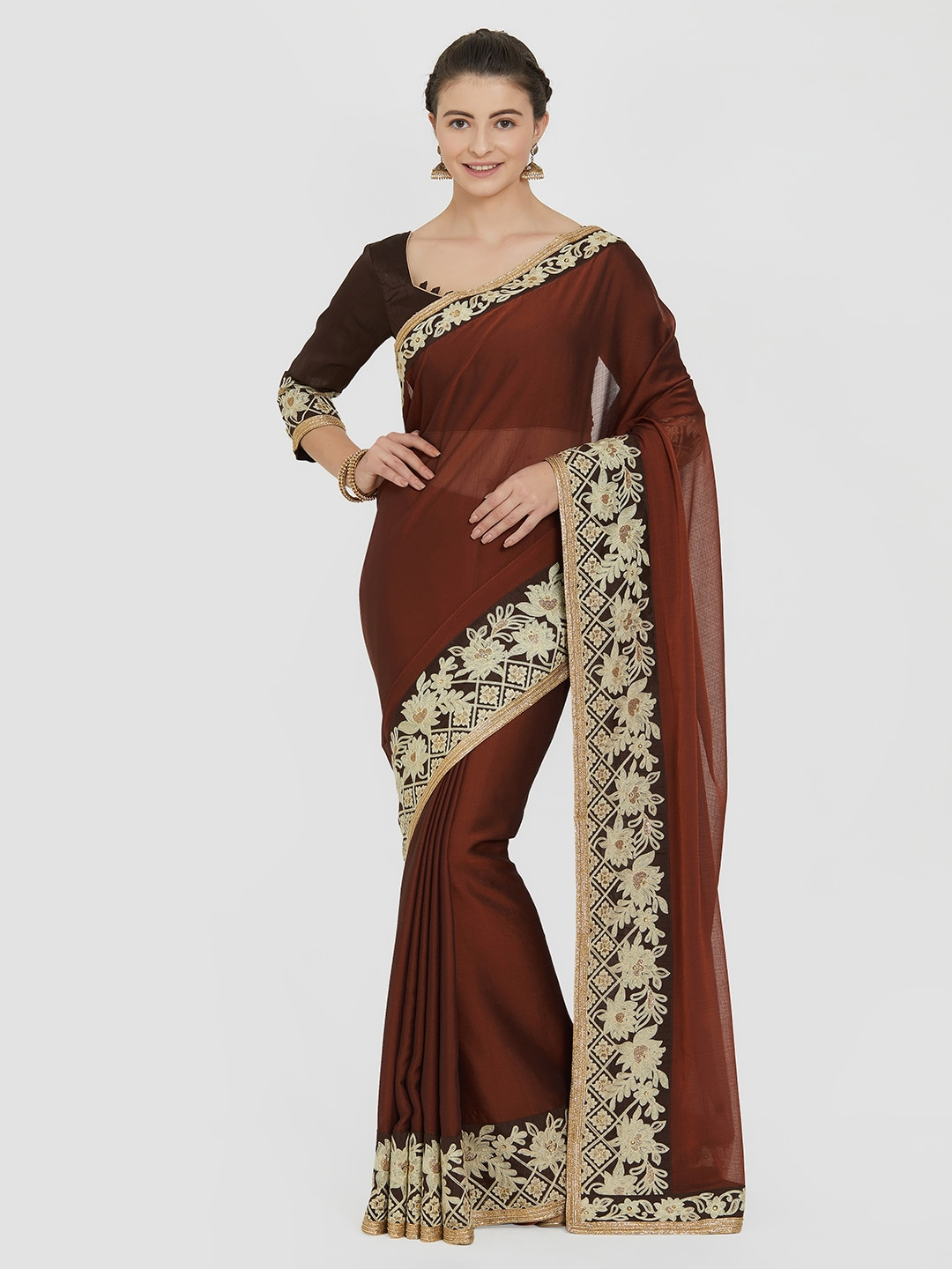 Indian Women Brown Embroidered Pure Chiffon Saree