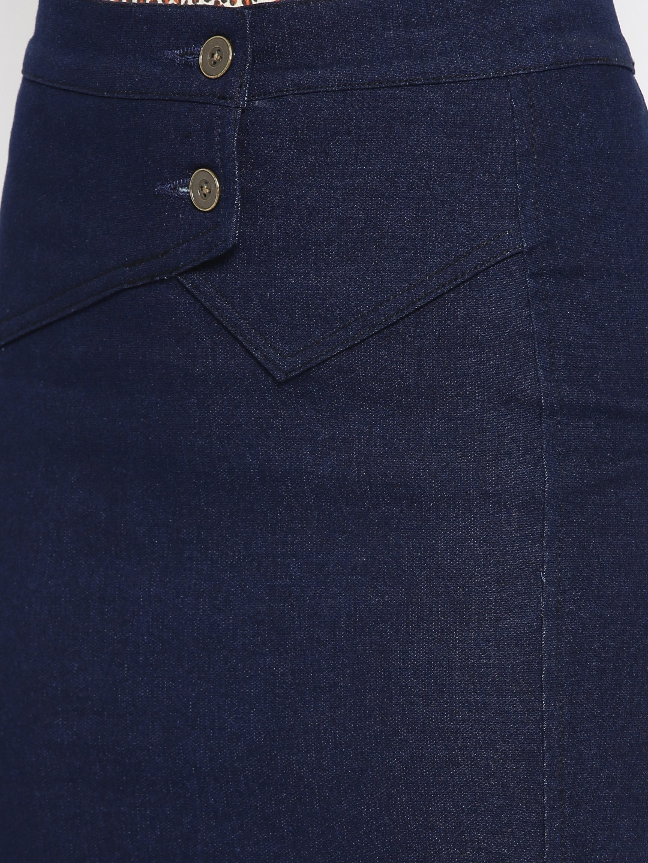 Rider Republic Women Navy Blue Denim Pencil Skirt