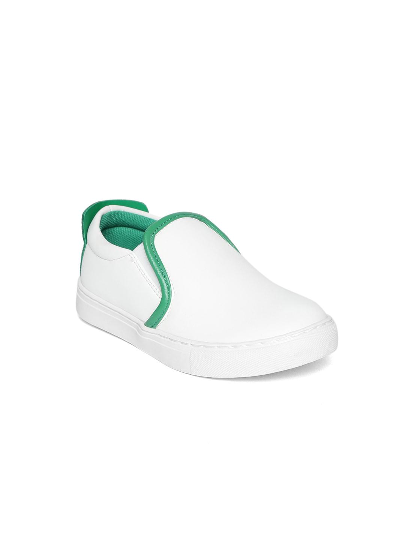 United Colors of Benetton Kids White Slip-On Sneakers