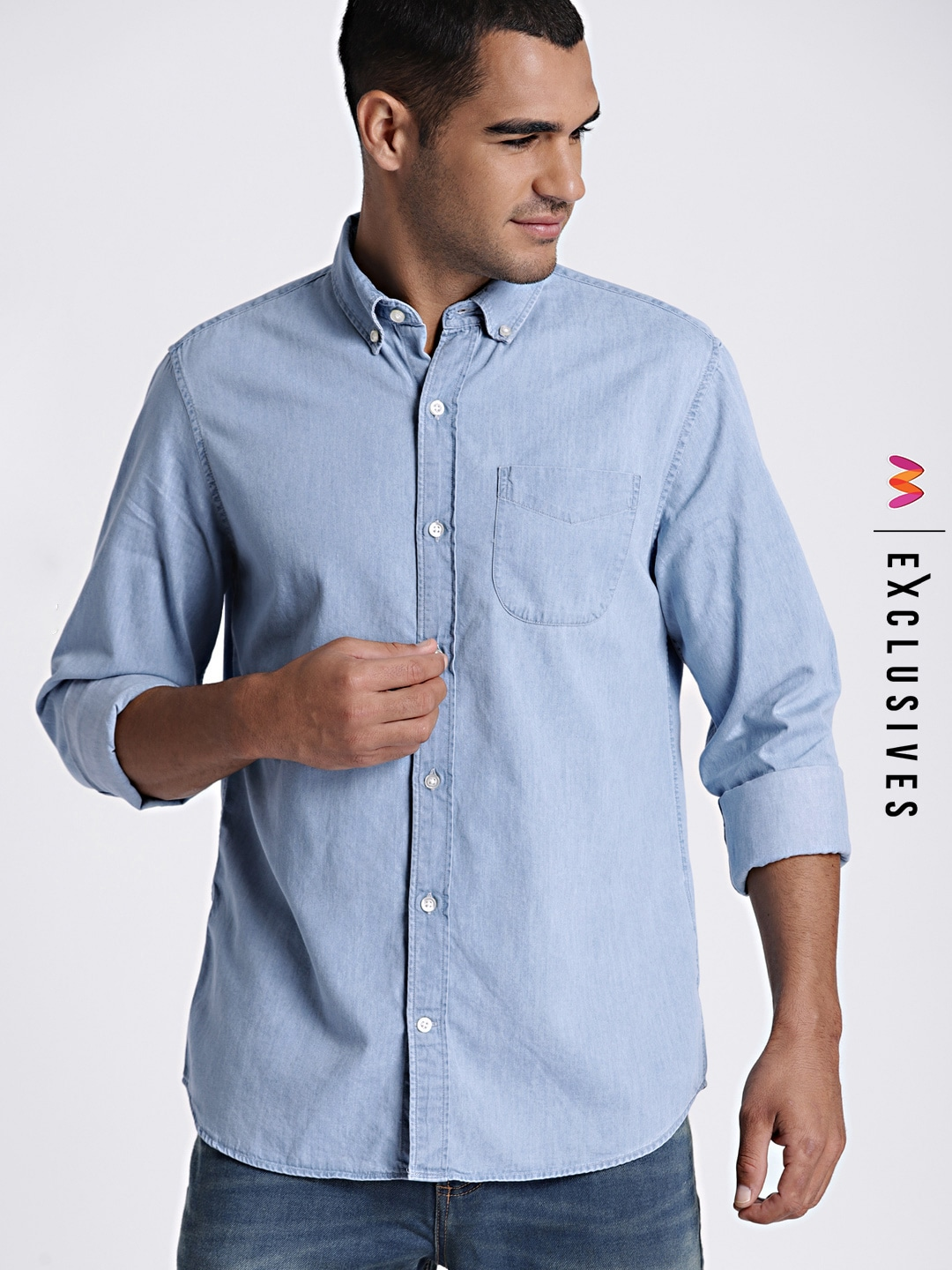 1f235995a Men Solid Blue Shirt - Buy Men Solid Blue Shirt online in India