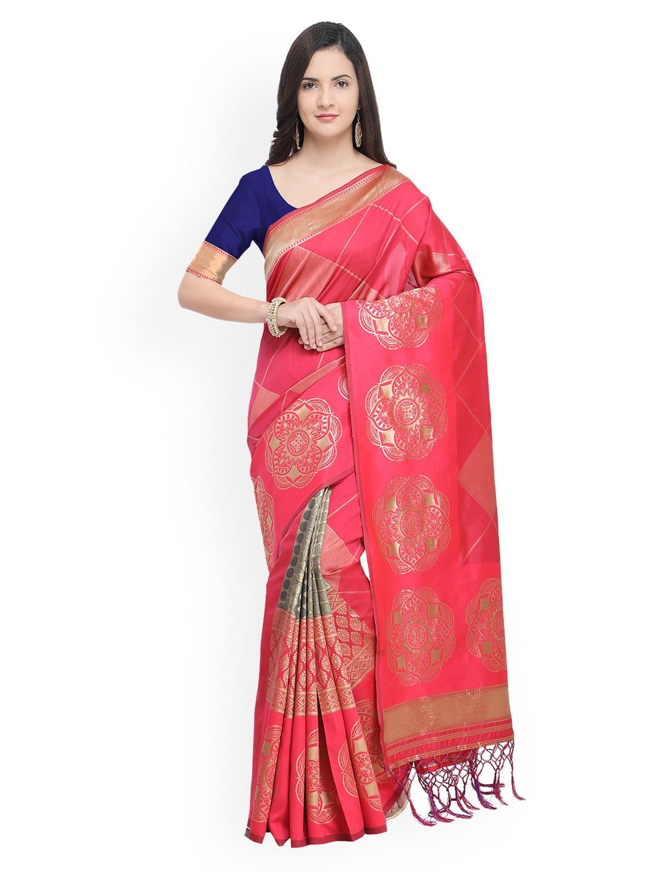 Women's Clothing Saree Women Banarasi Art Silk Woven Saree Indian Ethnic Wedding Sari Pink 41 Lustrous