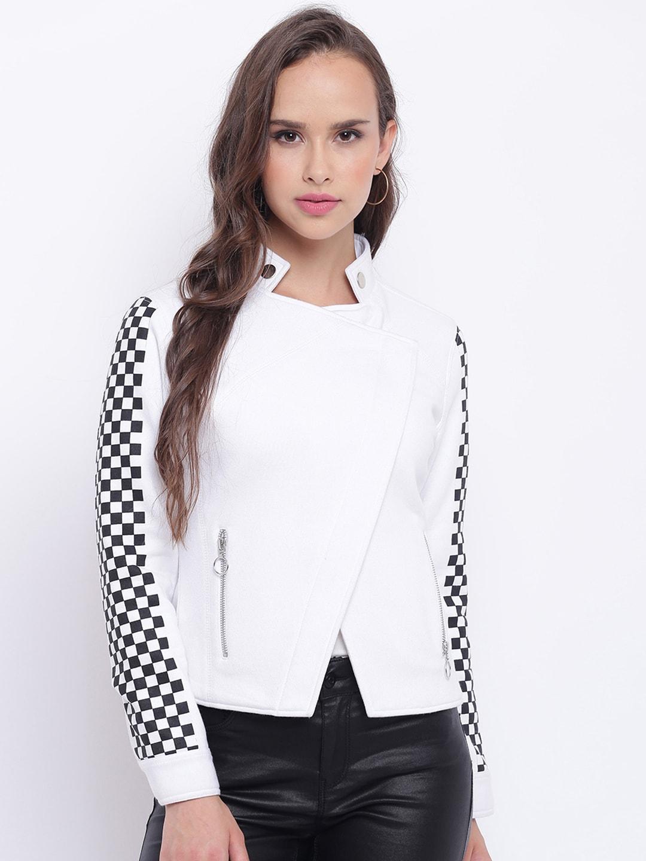 3c080843d Texco Women White Checked Insulator Biker Jacket