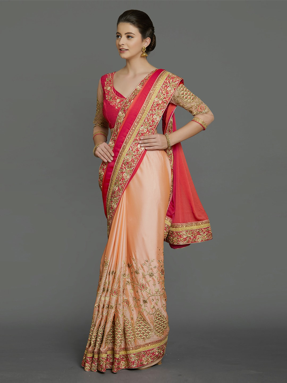 Mitera Pink & Peach-Coloured Pure Georgette Saree