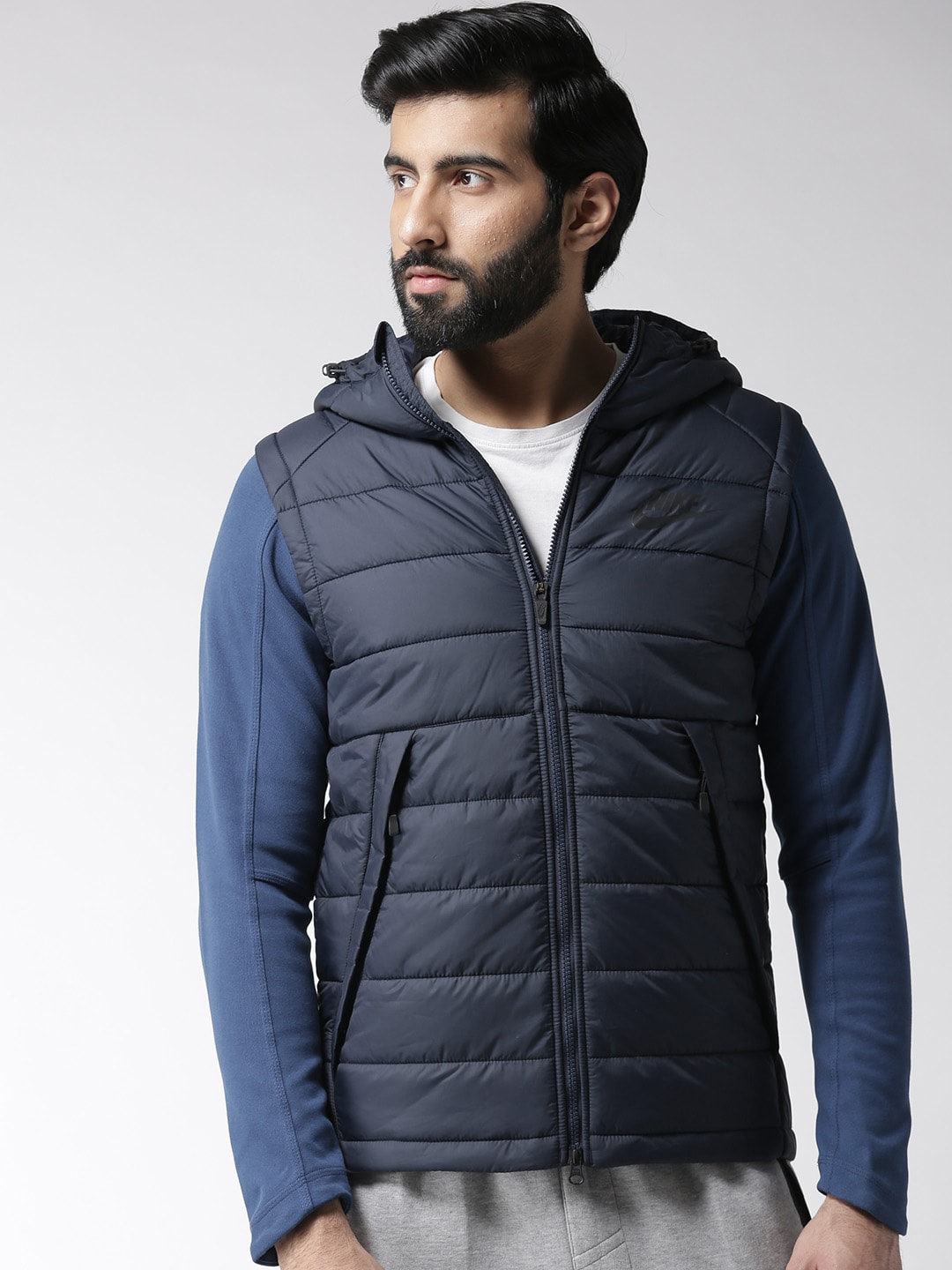5029af315 Nike Men Navy Blue 806864-451 Hooded Padded Jacket
