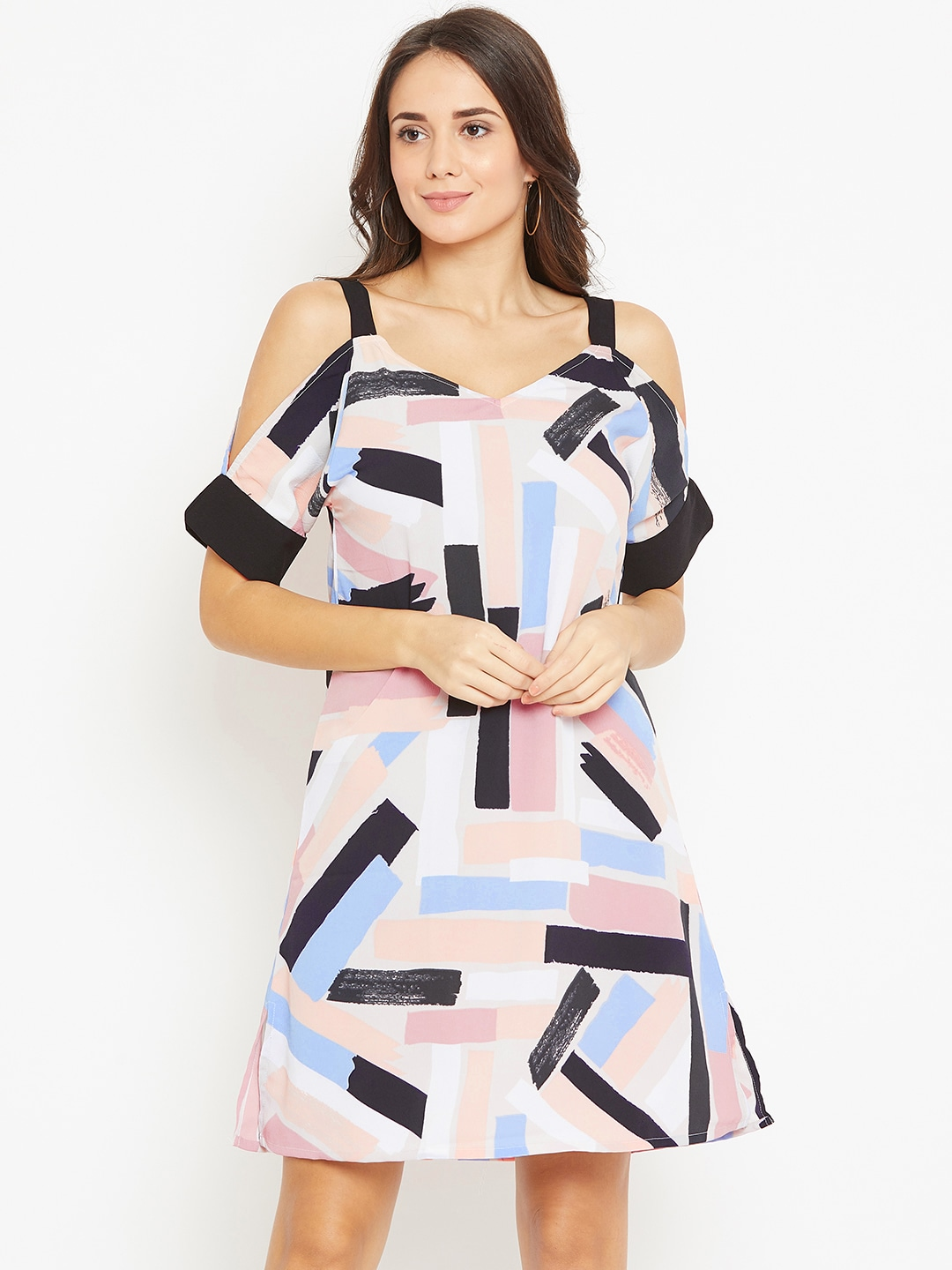 Rue Collection Women Multicoloured Printed Cold Shoulder A-Line Dress