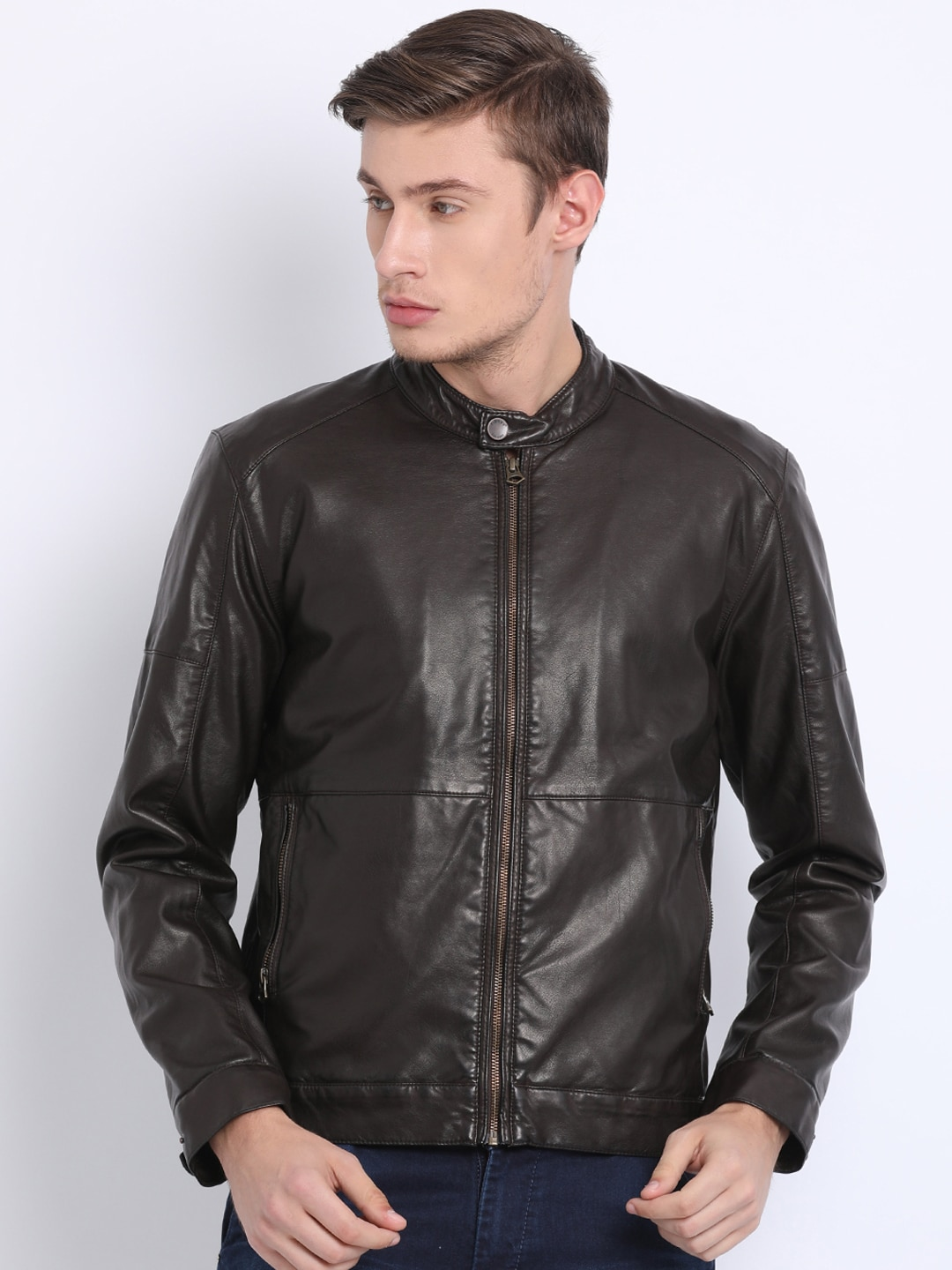 926e00b456aa t-base Men Brown Solid Windcheater Leather Jacket