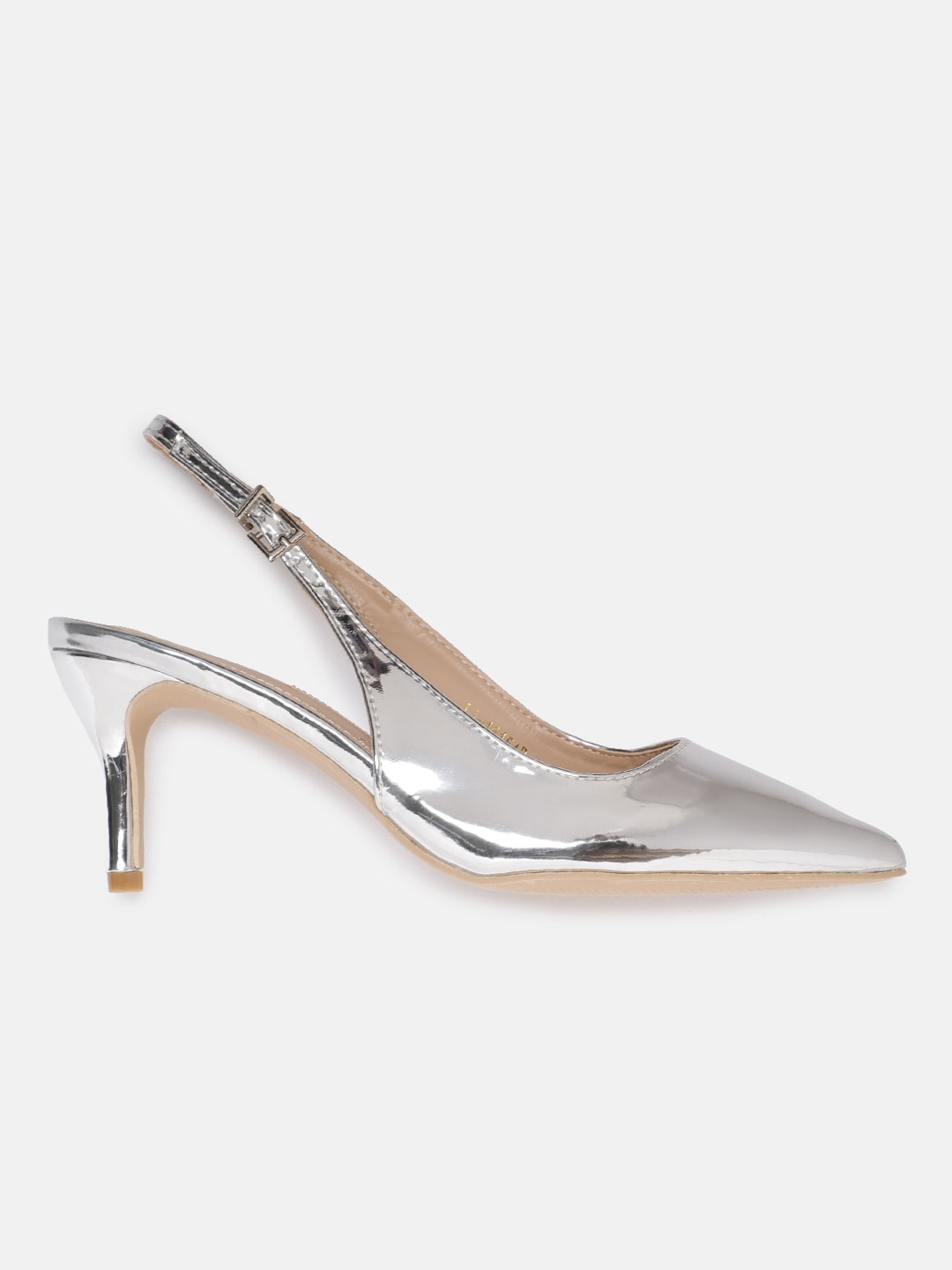 DressBerry Women Silver-Toned Solid Pumps