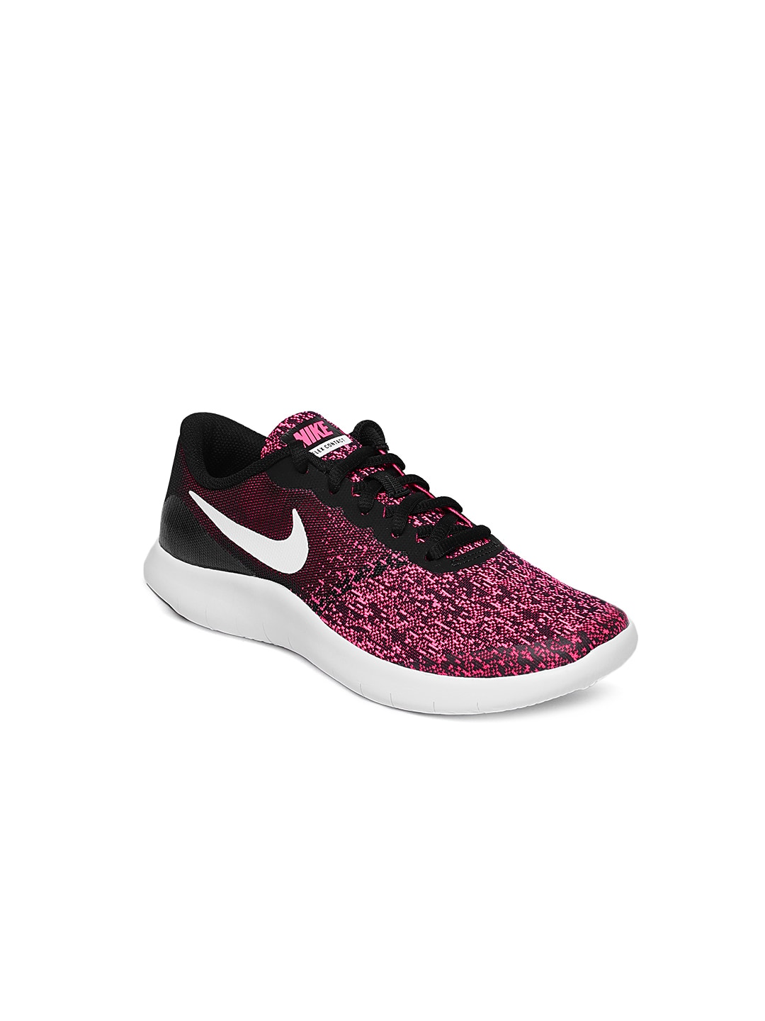 size 40 ea56c bc318 Nike Girls Black & Pink Printed Flex Contact Running Shoes