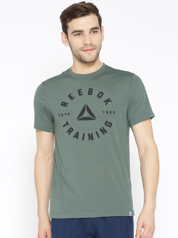 40f7b7f7b6 Reebok Men Green Printed GS Speedwick Training T-shirt