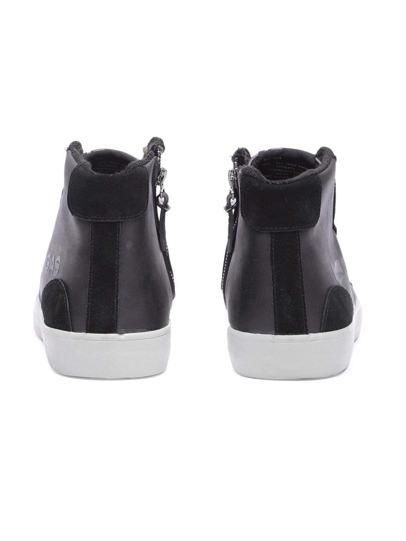 GAS Men Black Solid Mid-Top Sneakers