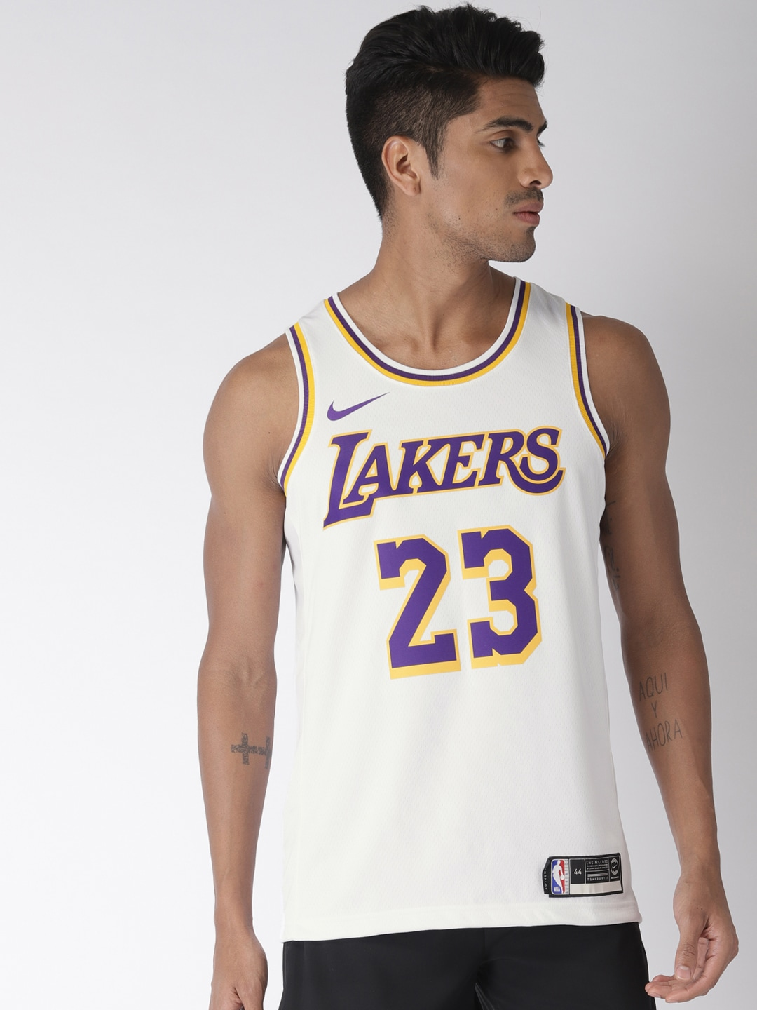 various colors 0d1a7 84684 Nike Men White Los Angeles Lakers LeBron James SWGMN Basketball Jersey
