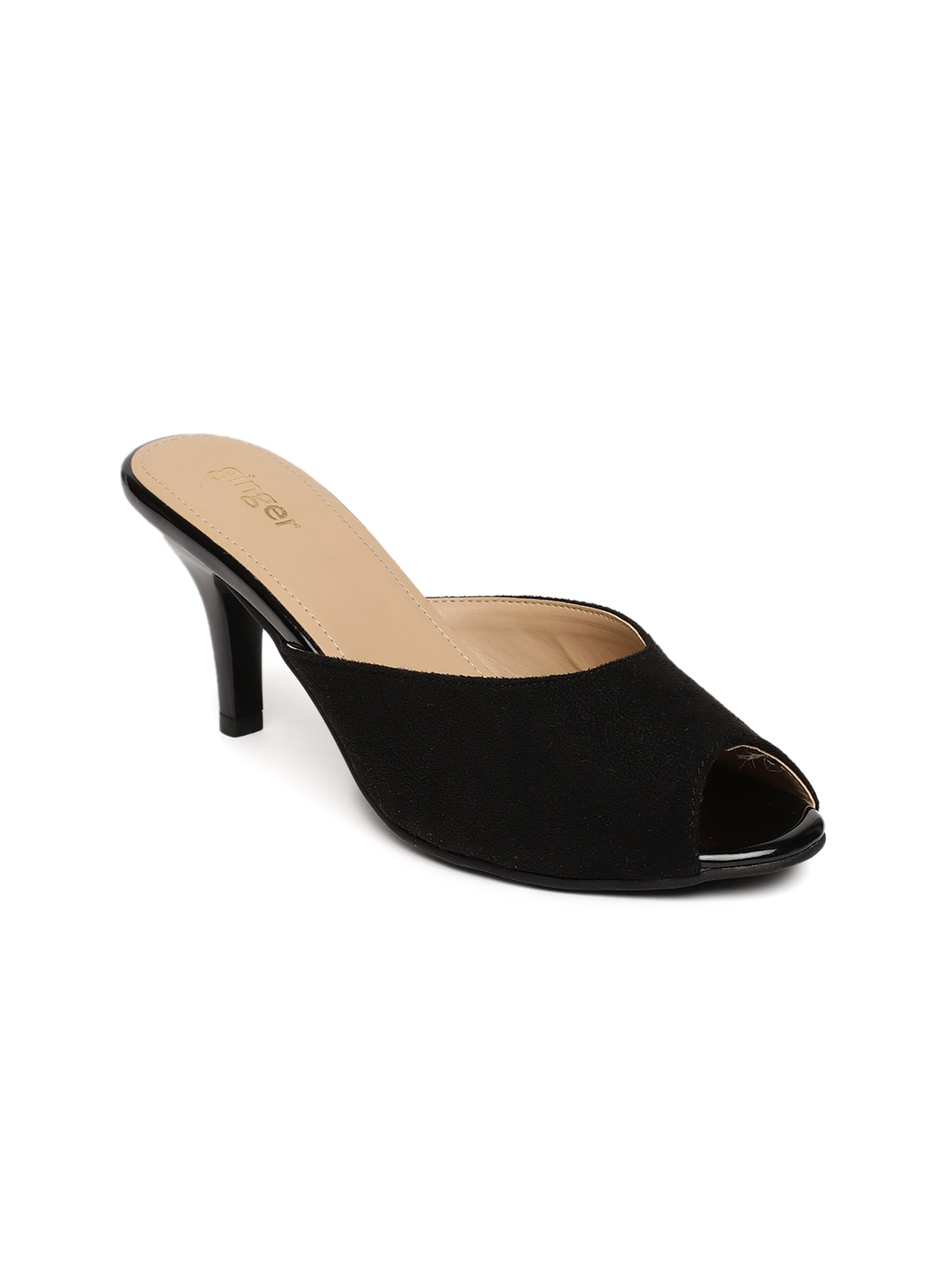 7660c41e5dc Ginger by Lifestyle Women Black Solid Peep Toes
