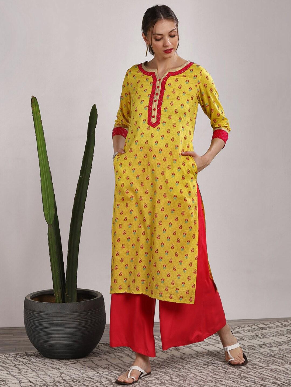 0b76e5c644a Women Round Neck Yellow Kurtas Kurtis - Buy Women Round Neck Yellow Kurtas  Kurtis online in India