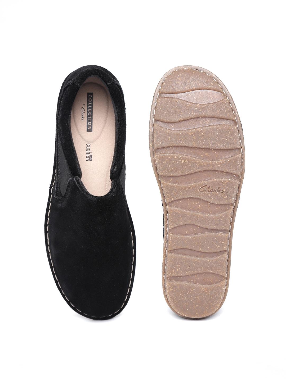 Clarks Women Black Suede Leather Slip-On Sneakers