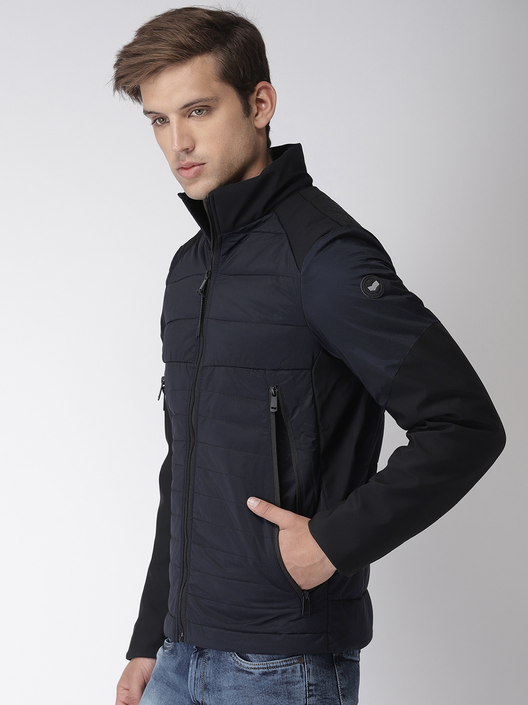 5610d94fb GAS Men Navy Blue Solid Puffer Jacket