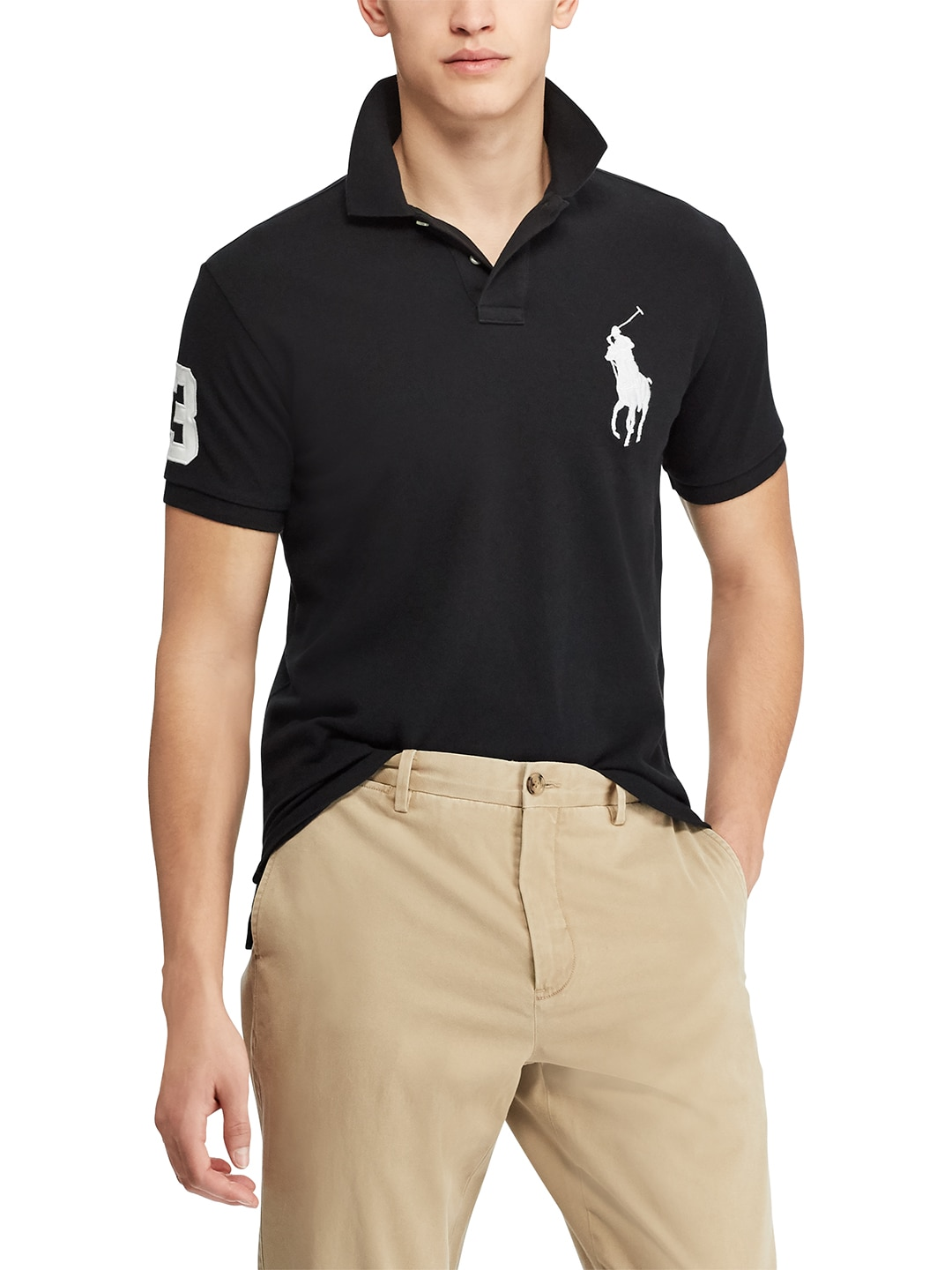 T Solid Shirt Men Collar Black Lauren Polo Ralph HYWEDI29