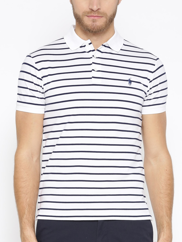 Polo Ralph Lauren White   Navy Blue Slim Fit Striped Polo T-Shirt fb65c1fe43b5