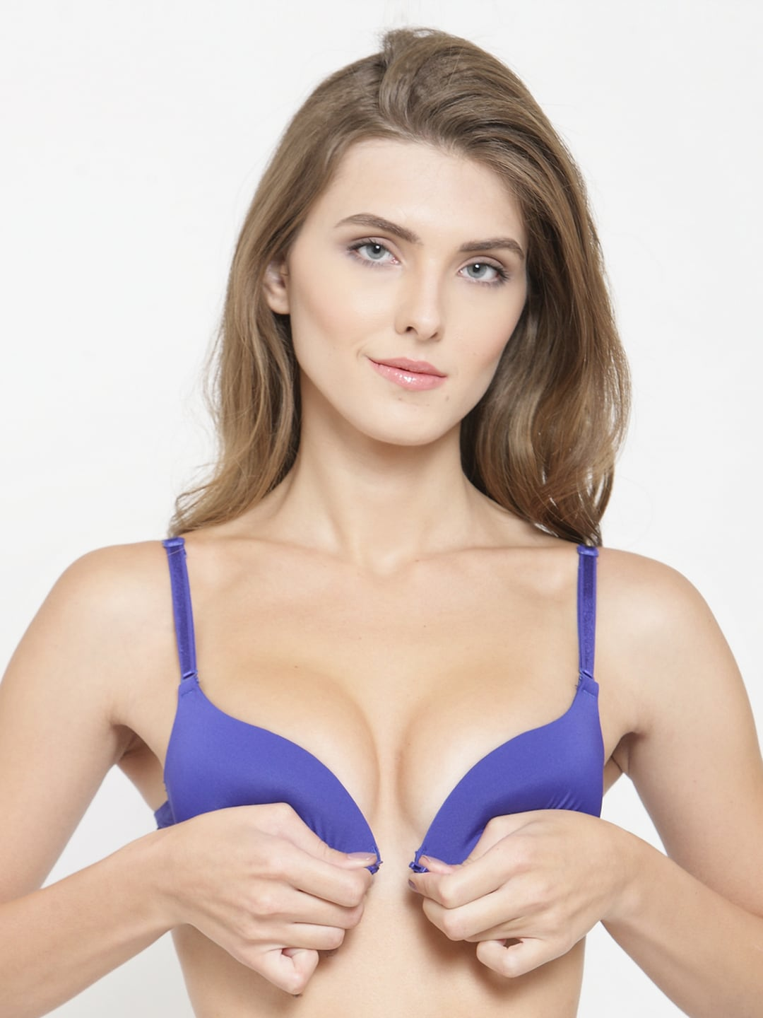 f31e203152 PrettyCat Blue Solid Underwired Lightly Padded Push-Up Bra PC-BR-20304836B