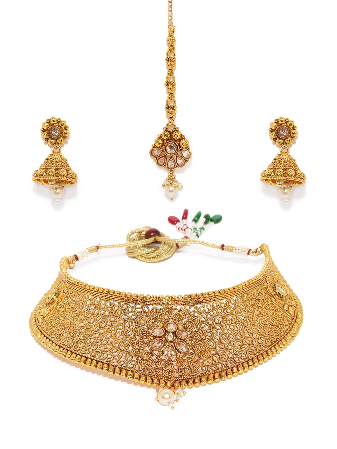 Radient Twotone Ad Stone Star Design Pendant Earrings Set Traditional Party Jewellery Bridal & Wedding Party Jewelry