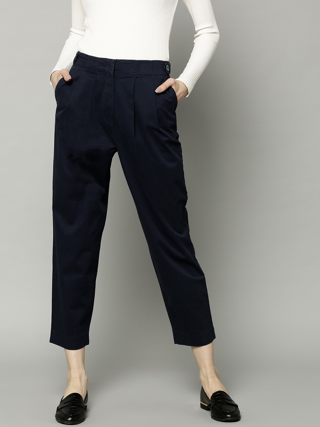 33cb748ea63 Marks & Spencer Women Navy Blue Regular Fit Solid Regular Trousers