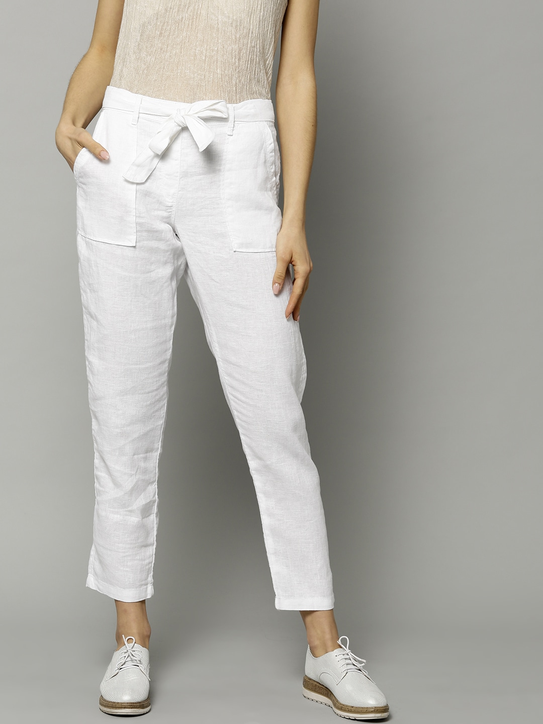 color brilliancy classic 2020 Marks & Spencer Women White Linen Tapered Fit Solid Cropped Peg Trousers