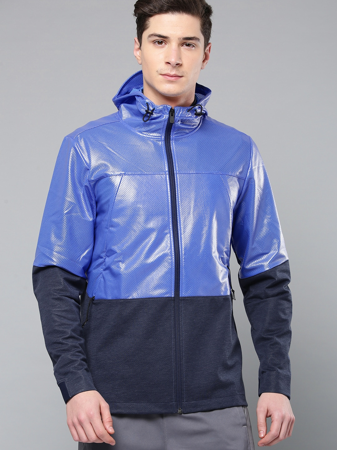 22609859b UNDER ARMOUR Men Blue Colourblocked Unstoppable Swacket Sporty Jacket