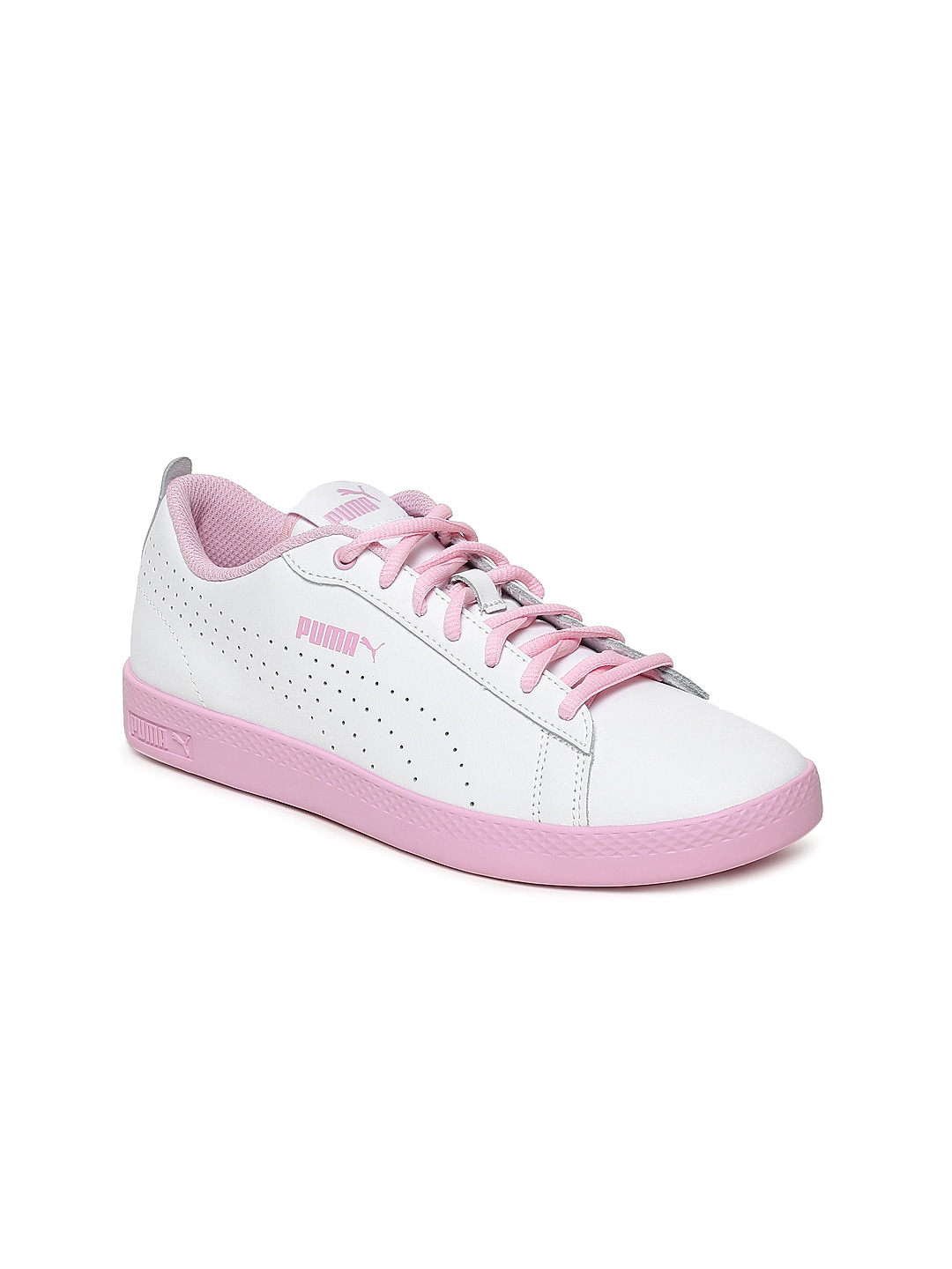 4ce1a83186 Puma Women White & Pink Smash v2 L Leather Sneakers