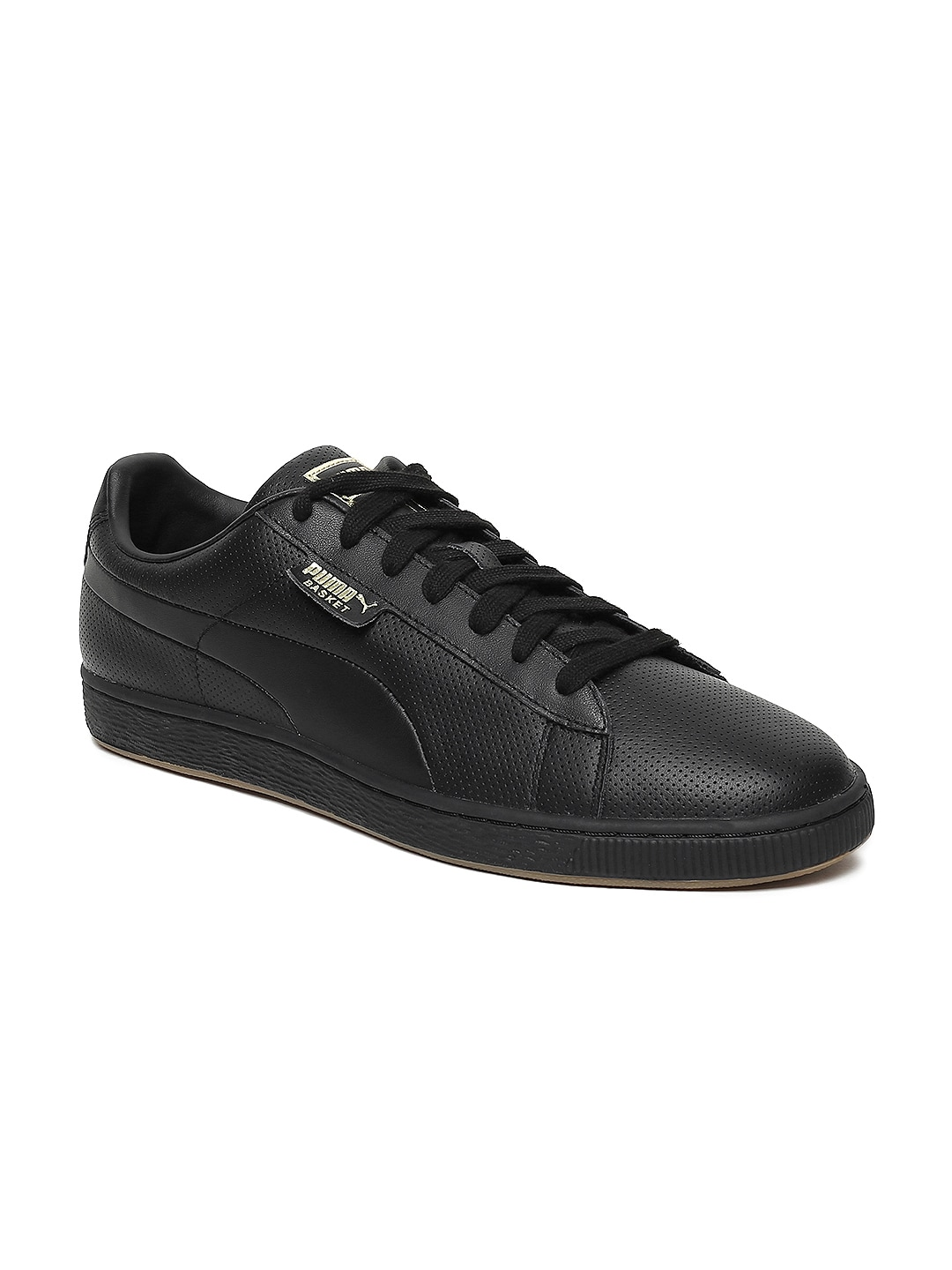b79066227209 Puma Unisex Black Basket Classic Gum Leather Sneakers
