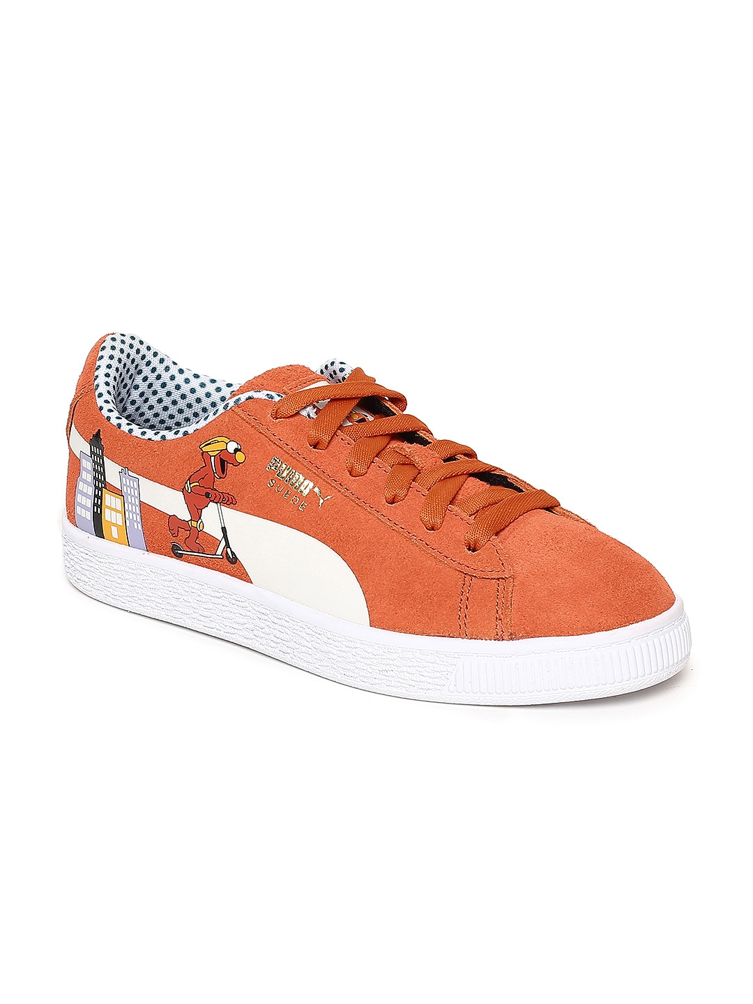 Puma Kids Orange Sesame Street Suede Sneakers