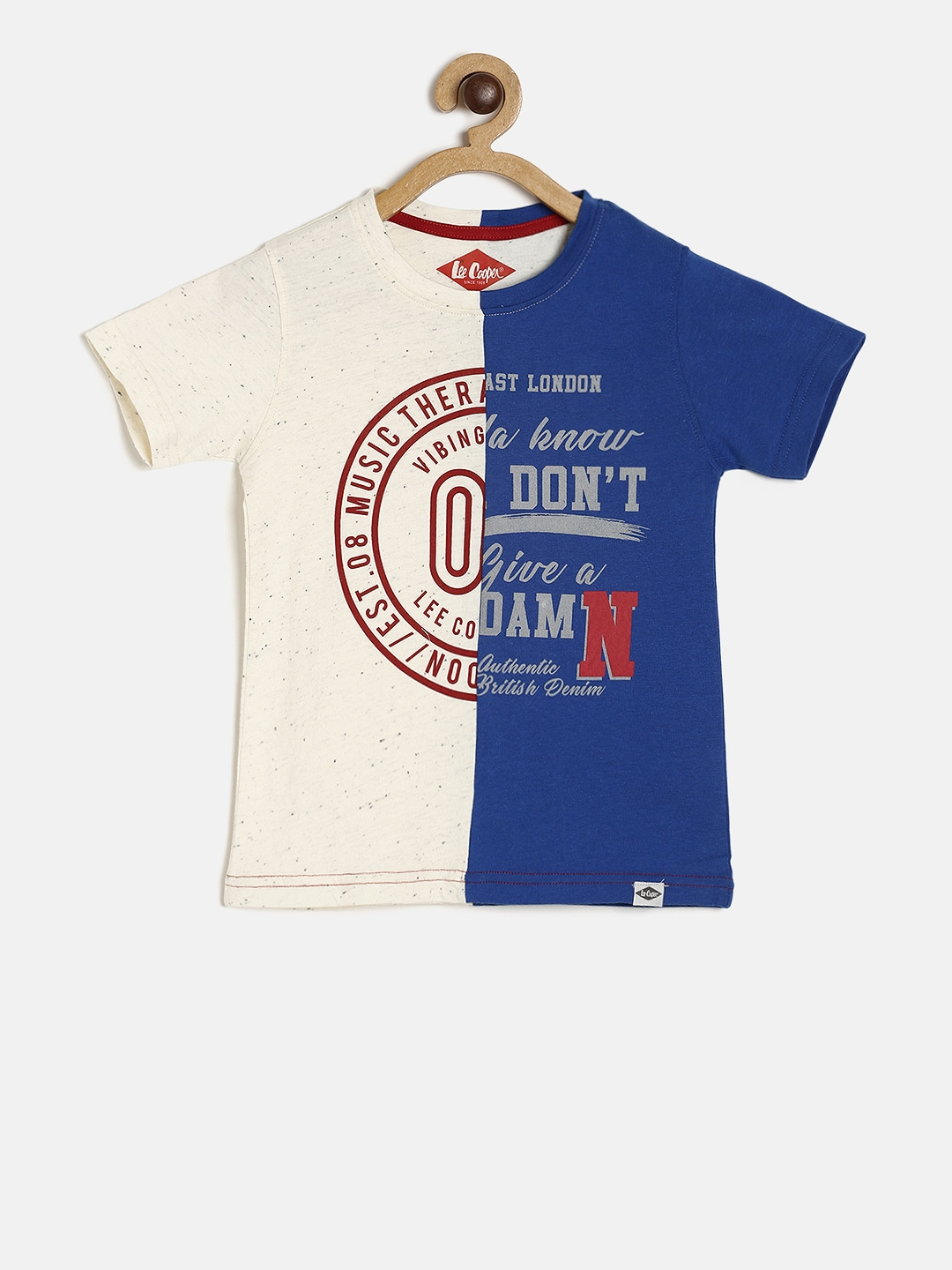 Lee Cooper Boys Blue & Off-White Colorblocked Round Neck T-shirt