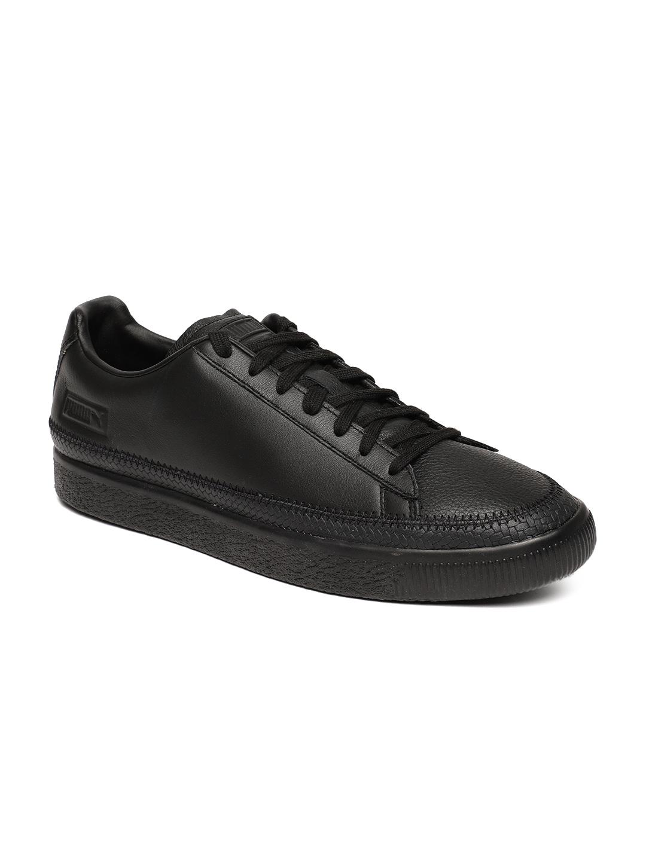 3020c1a90d Puma Unisex Black Leather Basket Trim Sneakers