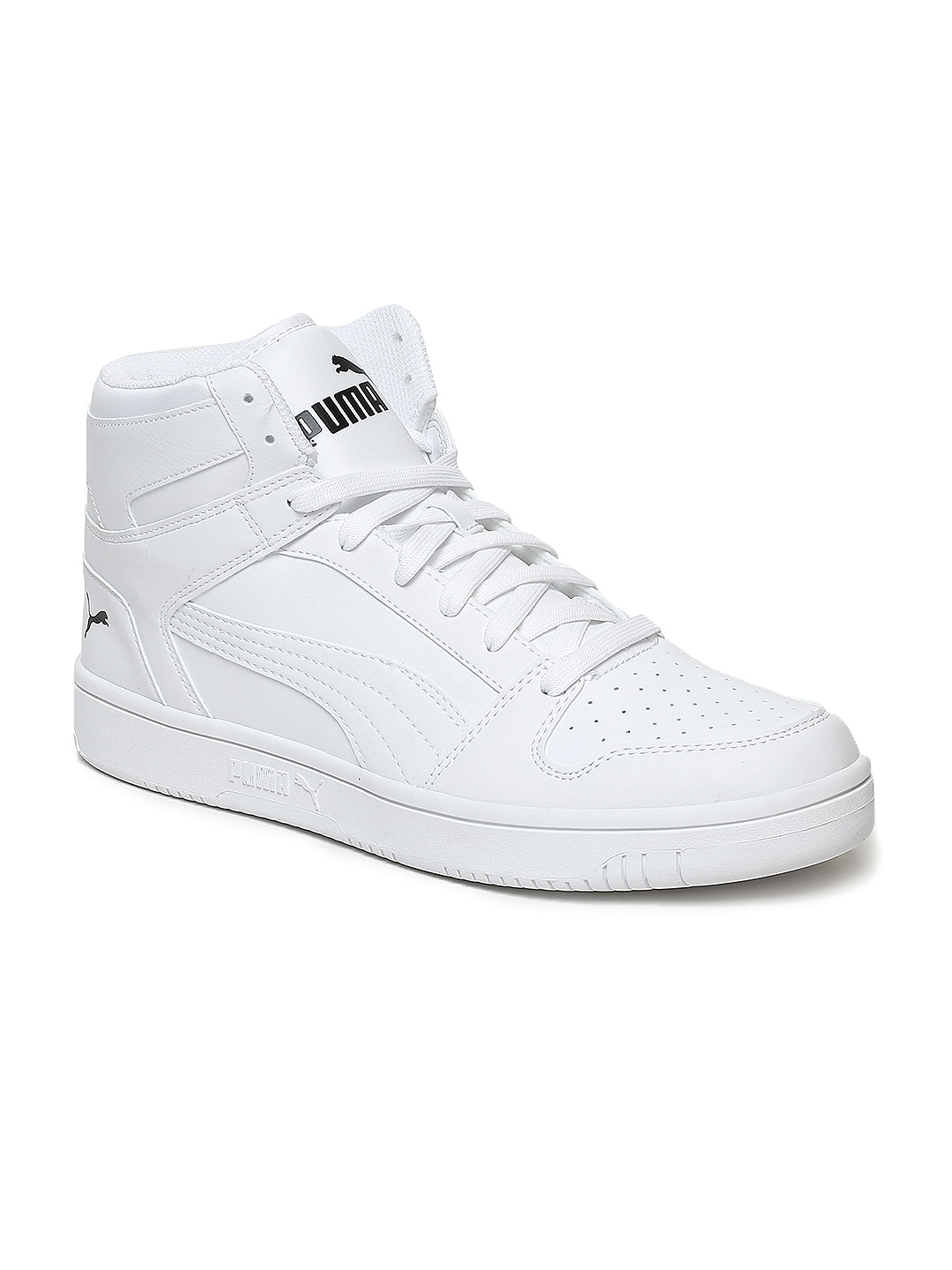 énorme réduction 5a515 88417 Puma Men White Rebound LayUp SL Leather Mid-Top Sneakers