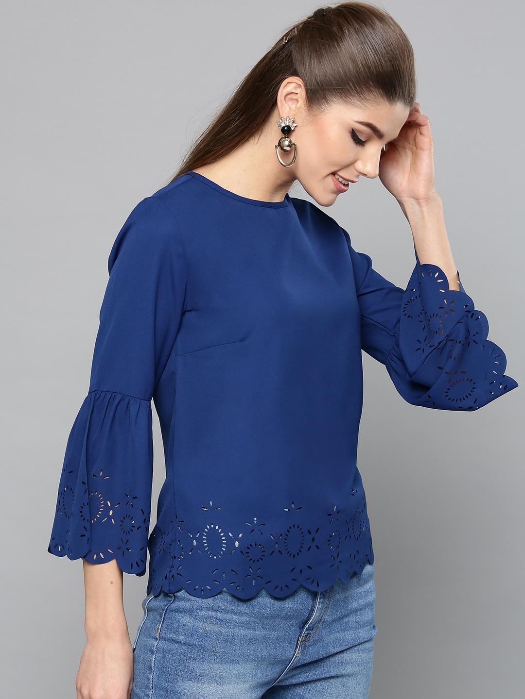 5f227682dc8613 Cut Sleeves Blue Top - Buy Cut Sleeves Blue Top online in India