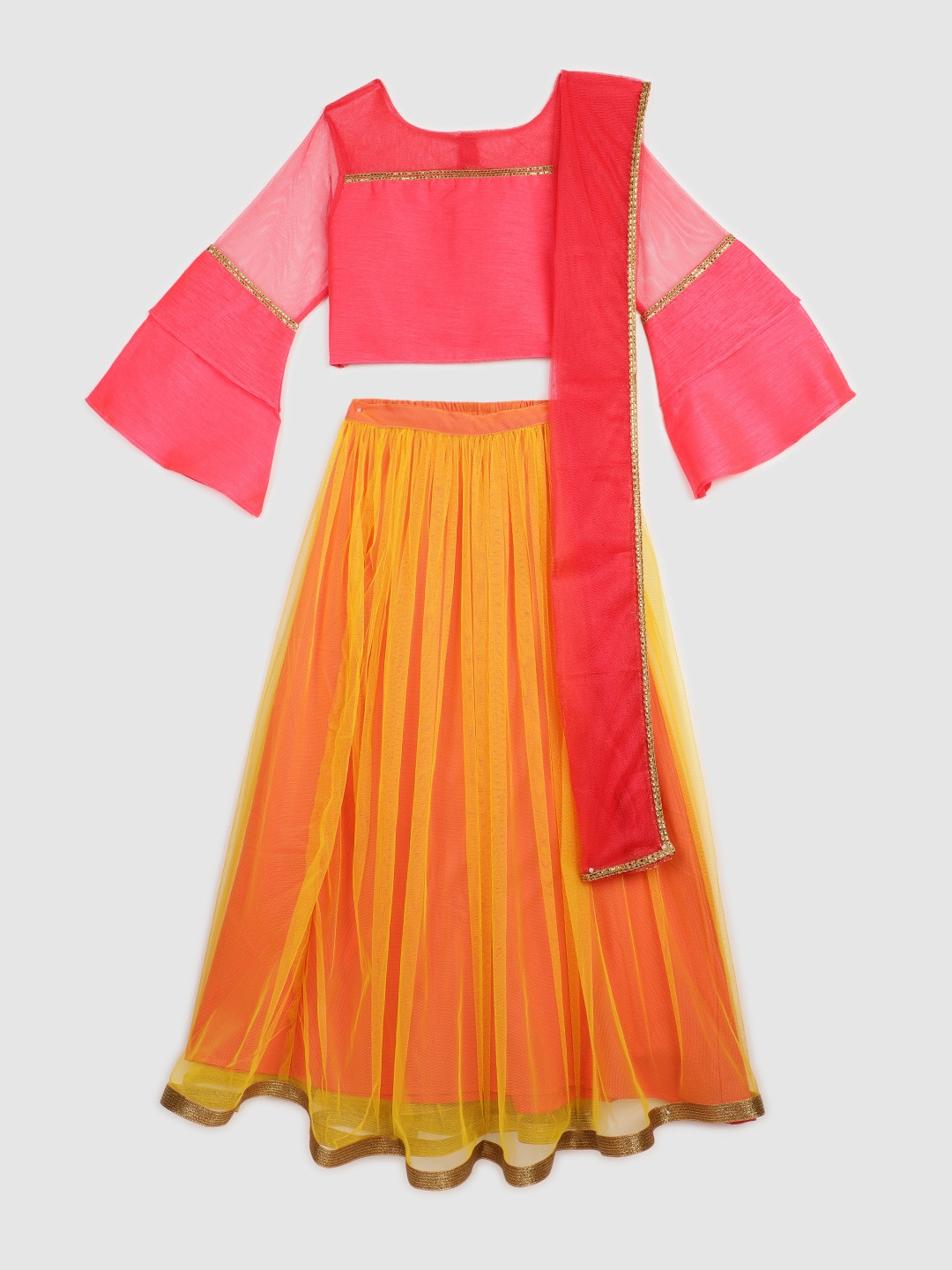 f35fb5c68 YK Girls Pink   Yellow Solid Ready to Wear Lehenga   Blouse with Dupatta
