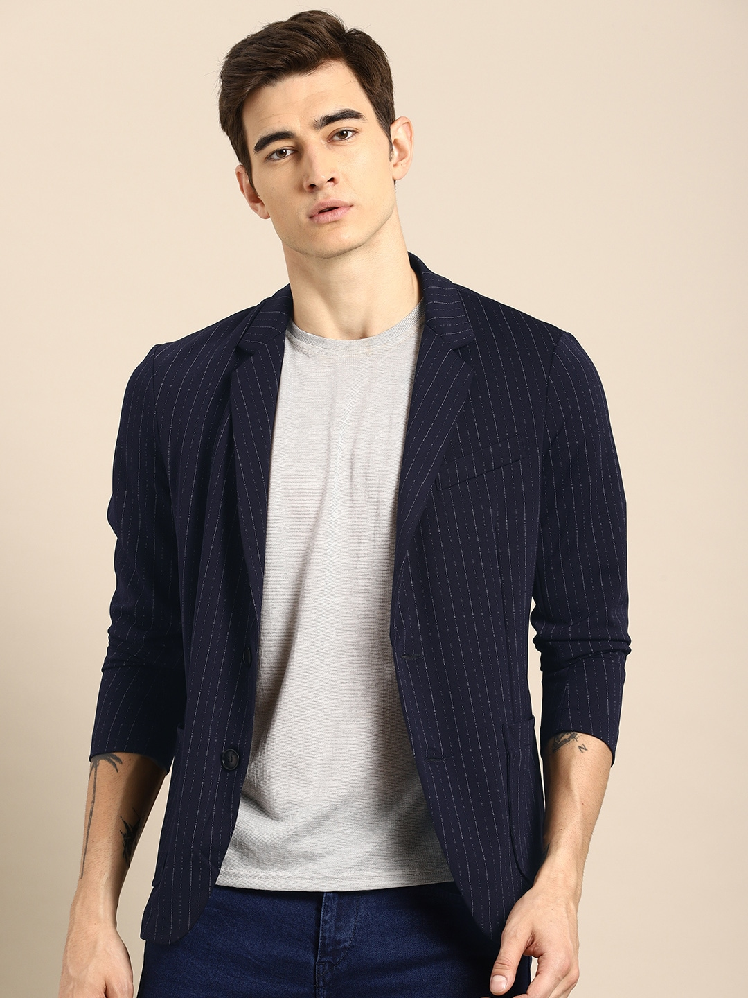 wholesale dealer acce9 61679 ether Navy Blue & White Striped Single-Breasted Casual Blazer