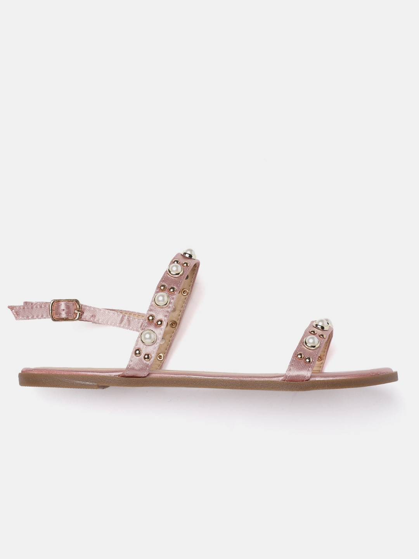 DressBerry Women Rose Gold-Toned Embellished Open Toe Flats