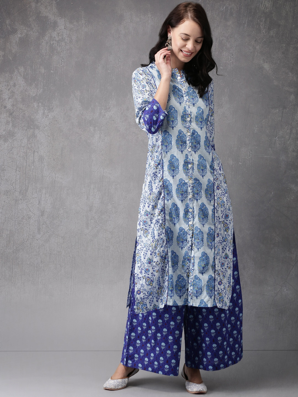 Anouk Women Blue & White Printed Kurta With Palazzos